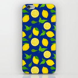 Summer Lemons Pattern - Yellow and Blue Palette iPhone Skin