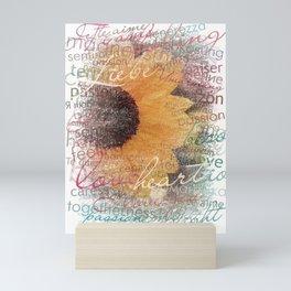 Words of Love Sunflower Mini Art Print