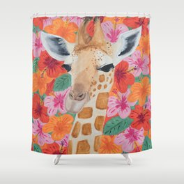 Giraffe painting, Colorful wall art, Animal art Shower Curtain