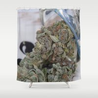 medical Shower Curtains featuring Silver Afghan Medical Marijuana by BudProducts.us