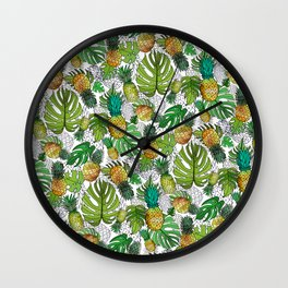 Tumbling Pineapples and Tropical Vibes Wall Clock