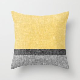 Yellow Grey and Black Section Stripe and Graphic Burlap Print Throw Pillow
