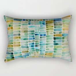 Watercolor abstract rectangles - orange and blue Rectangular Pillow