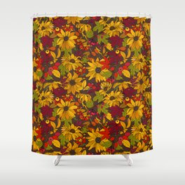 autumn flowers and leaves Shower Curtain