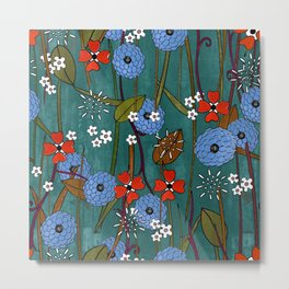 Red and turquoise flower flurry Metal Print