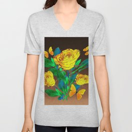 BROWN SHADES YELLOW SPRING ROSES & BUTTERFLIES Unisex V-Neck