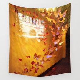 Butterflies in Window Wall Tapestry
