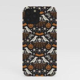 All Hallows' Eve - Black Orange Halloween iPhone Case