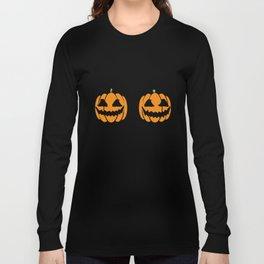 Halloween Pumpkin Boobs Womens Evil Breast Joke Boob T-Shirts Long Sleeve T-shirt