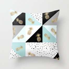 Pastel color block watercolor dots faux gold pineapple Throw Pillow