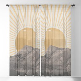 Abstract Landscape, Mountain and Sunshine Sheer Curtain
