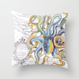 Octopus Steel Blue Vintage Map Throw Pillow