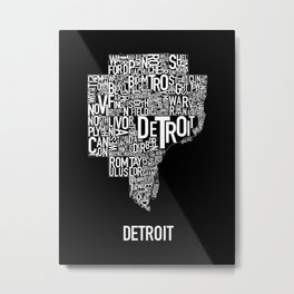 Detroit Typography map poster - Black Metal Print