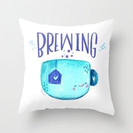 Coffee Tea Brewing Motivational Mug Throw Pillow