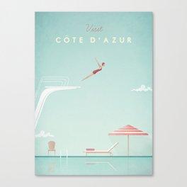 Vintage Côte d'Azur Travel Poster Canvas Print