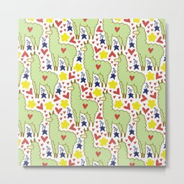 Funny colorful sheep with hearts, stars and flowers pattern Metal Print