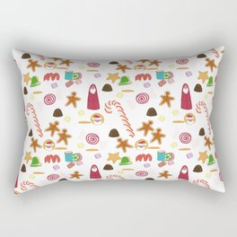 Christmas Sweeties Candies, Peppermints, Candy Canes and Chocolates Rectangular Pillow