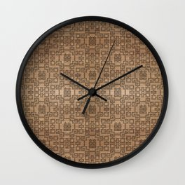 Chinese Pattern Double Happiness Symbol on Wood Wall Clock