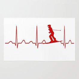 SKIING WOMAN HEARTBEAT Rug