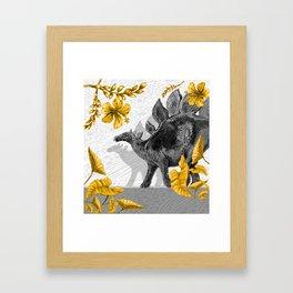 Jurassic Stegosaurus: Gold & Gray Framed Art Print