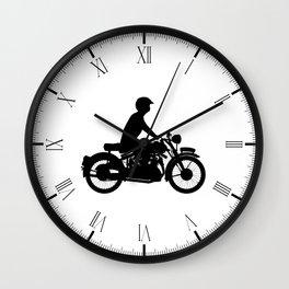 Motor Cyclist Silhouette Wall Clock