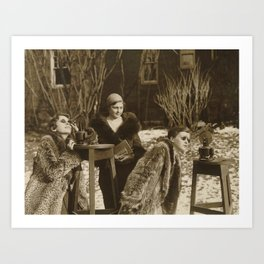 Vintage Black & White Photo of Three Ladies Art Print