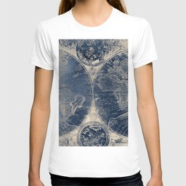 Antique World Map Gold Navy Blue Library T-shirt