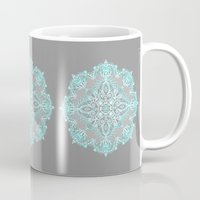 bedding Mugs featuring Teal and Aqua Lace Mandala on Grey by micklyn