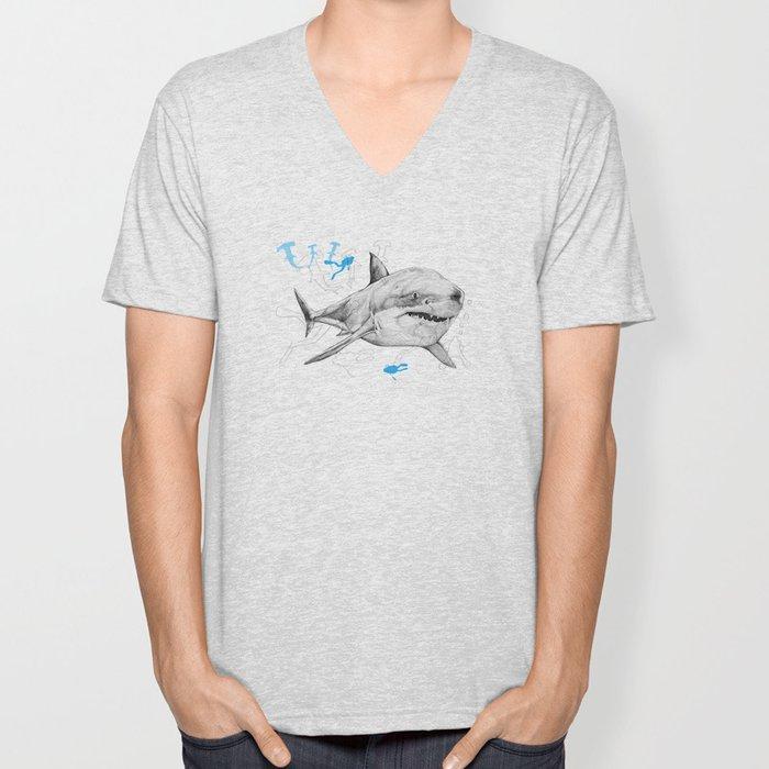 'Sharks & Silhouettes' Unisex V-Neck