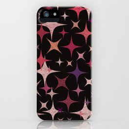 Shimmering Purple, Red, Pink and White Stars iPhone Case