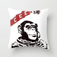 Soviet Space Monkey Throw Pillow