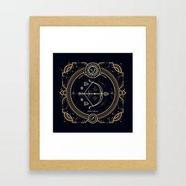 Sagittarius Zociac Golden White on Black Background Framed Art Print