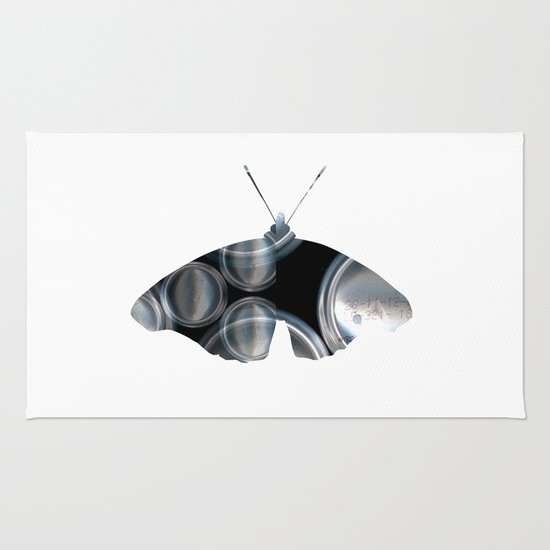 Metal Can Butterfly Collage Rug