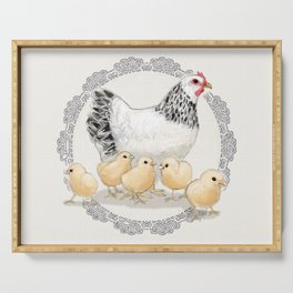 Mother Hen and Her Chicks in Crochet Wreath Serving Tray