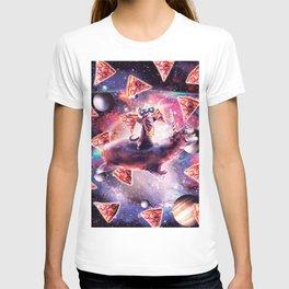 Thug Space Cat On Hippo Unicorn - Pizza T-shirt