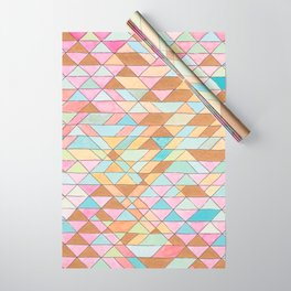 Triangle Pattern No. 25 Gold Pink Turqouise Wrapping Paper