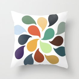 Colorful Water Drops Throw Pillow