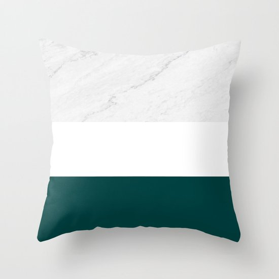 Marble And Teal Throw Pillow