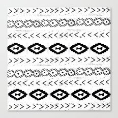 Mudcloth black and white linocut stamps pattern geometric minimal decor Canvas Print