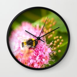 Busy Bee Bzzzzzzz On A Pink Flower #decor #society6 Wall Clock