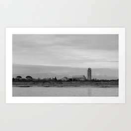 Torcello and the Alps in black and white Art Print