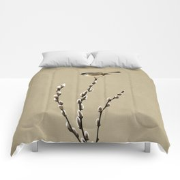 Chickadee And Pussy Willow Comforters