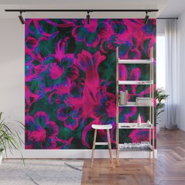 Pink Space Flora Wall Mural