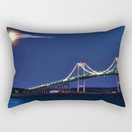 Full Moon and the Newport Bridge at Twilight- Newport, Rhode Island Rectangular Pillow
