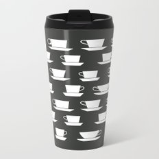 Pattern of Coffee and Tea Cups Metal Travel Mug