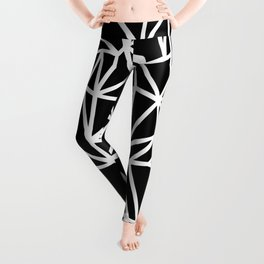 Abstract Outline Thick White on Black Leggings