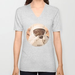 Astronaut Cat on Mars Unisex V-Neck
