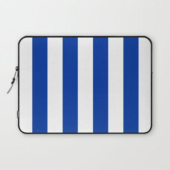 Dark Princess Blue and White Wide Vertical Cabana Tent Stripe by honorandobey