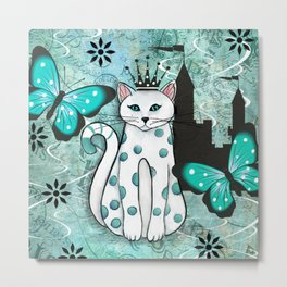 Whimsical Cat and Castle Metal Print