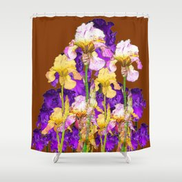 IRIS GARDEN ON CHOCOLATE BROWN Shower Curtain